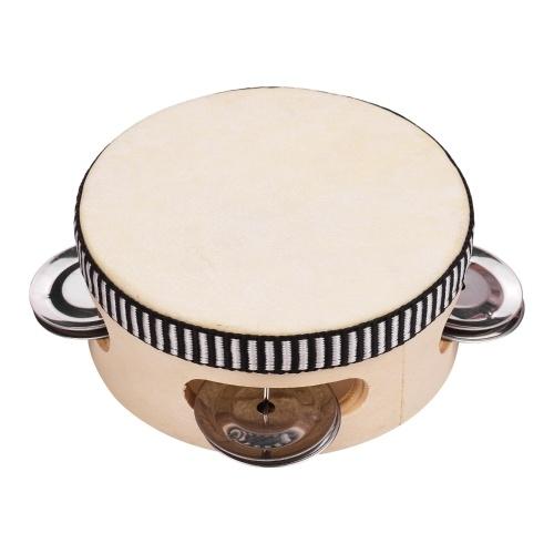 4 Inch Wooden Hand Tambourine with Metal Single Row Jingles Sheepskin Drum Skin