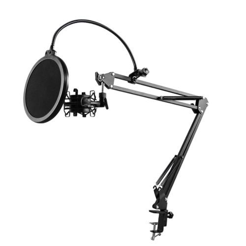 NB-35 Suporte de braço de tesoura para microfone e filtro de montagem em mesa Escudo do para-brisas e kit de montagem em metal