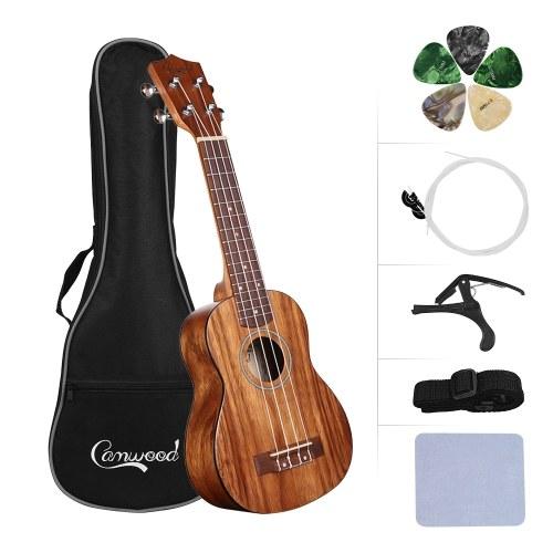 Camwood Material de teca de madeira de teca de ukulele de concerto de 21 polegadas