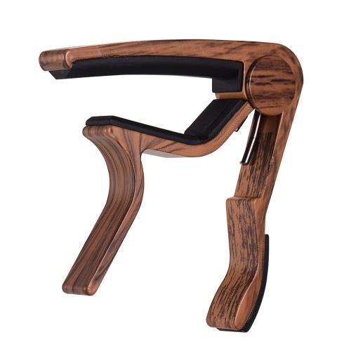 Capo en métal à grain de bois pour accessoires d'instruments de musique d'accordage de guitare folk