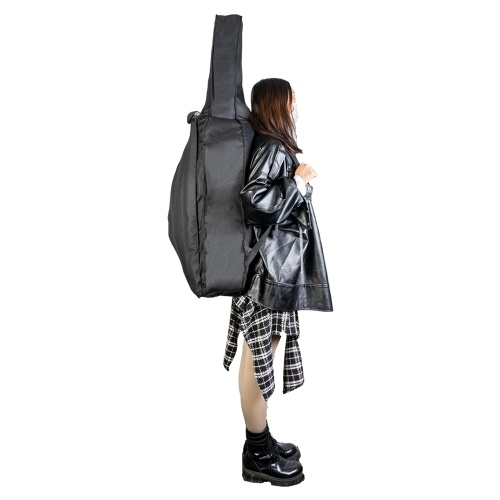 4/4 Sac de violoncelle Sac à dos Gig Bag Sac de transport souple avec bandoulière Poignée latérale Accessoires pour violoncelle Poches d'arc Noir