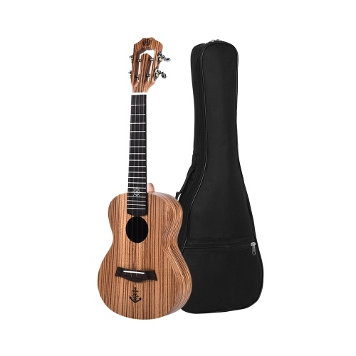 LINGTING 23 Zoll Konzert Ukulele Ukelele Zebrawood Topboard Back & Side Boards