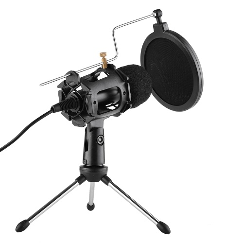 Video Microphone Kit with Mini Microphone Tripod Shock Mount Pop Filter Windshield USB Adapter Cable 3.5mm TRS Plug