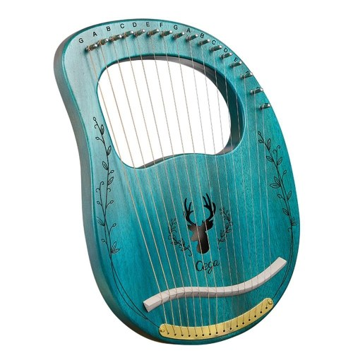 Muslady 16 String Upgraded Lyre Harp Portable Solid Wood Harp String Musical Instrument with Tuning Wrench Clear Blue