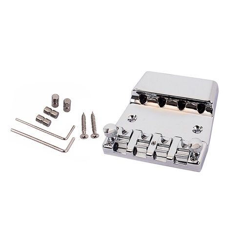 4-String Bass Guitar Bridge Instrument Guitar Accessory Alloy Material Replacement with Hex Wrench and Screw