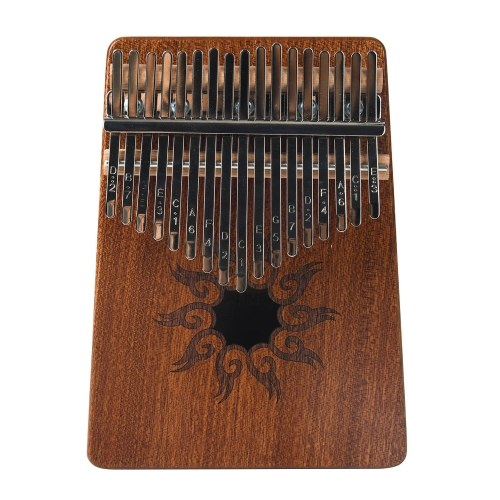 17-Tone Kalimba Thumb Piano Flame Pattern Pine Wood Musical Instrument with Learning Book Tune Hammer