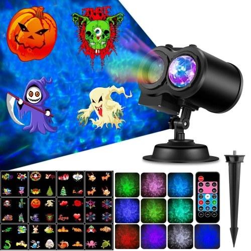 2 in 1 Projektorlicht Fernbedienung 10 Farben Wasserwelle 12 Dia-Muster für Halloween Weihnachten