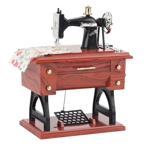 Мини швейная машина музыкальная шкатулка ретро классическая педаль швейная машина стол стол механический заводной музыкальный автомат