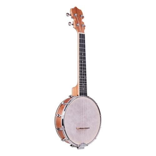 ammoon Concert 23 Inch Resonator Banjo Uke 4 String Banjolele Sapele Body Okoume Neck Technical Wood Fingerboard Material with Tuning Wrench Bridge Positioning Ruler