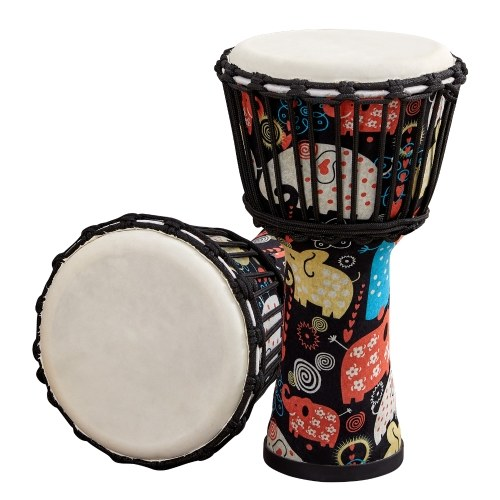 8 Inch Portable African Drum Djembe Hand Drum with Colorful Art Patterns Percussion Musical Instrument