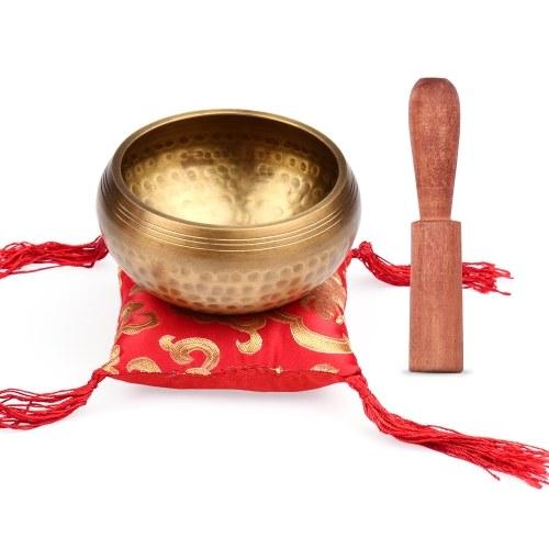 Ammoon Set di campane tibetane Ciotola con scala calibro 9,5 cm + bacchetta di legno ordinaria 12 * 2 cm + pad quadrato rosso da 10 cm