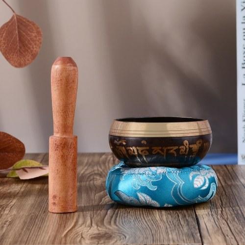 ammoon Tibetan Singing Bowl Set with 8cm/3inch Handmade Metal Sound Bowl & Soft Cushion & Wooden Striker for Meditation Sound Chakra Healing Yoga Rela
