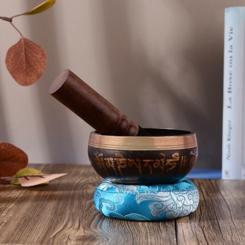 ammoon Tibetan Singing Bowl Set with 9.5cm/3.7inch Handmade Metal Sound Bowl & Soft Cushion(Random Color Delivery) & Wooden Striker for Meditation Sou