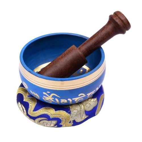 Juego de cuencos tibetanos azules ammoon con cuenco con sonido de metal hecho a mano de 9,5 cm / 3,7 pulgadas y cojín suave y delantero de madera