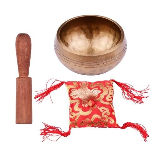 Muslady Tibetan Singing Bowl Set 8,5 cm Kaliber Musterschale + 12 * 2 cm gewöhnlicher Holzstab + 10 cm rotes Quadratkissen