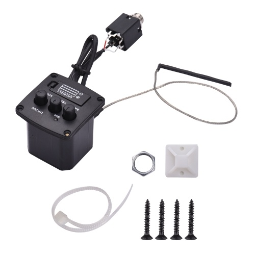 Muslady Ukulele Peizo Pickup Preamp Amplifier 2-Band EQ Equalizer Tuner System