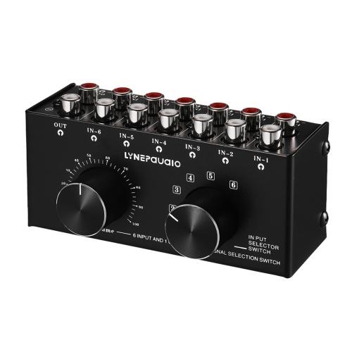 6-In-1-Out-Audio-Umschalter Audiosignal-Auswahlbox Splitter-Verteiler mit Lautstärkeregler-Cinch-Buchsen