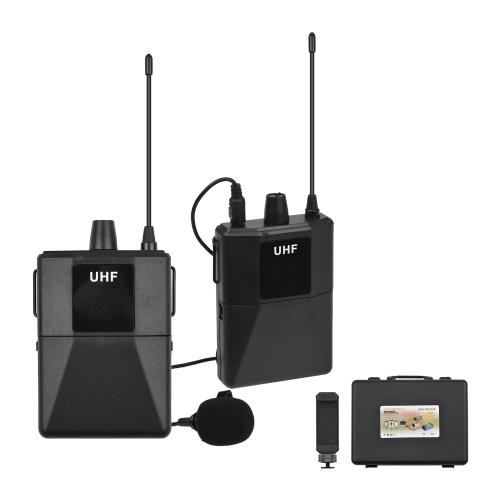 Ammoon UHF Wireless-Mikrofonsystem mit Lavalier-Mikrofonempfänger im Bodypack