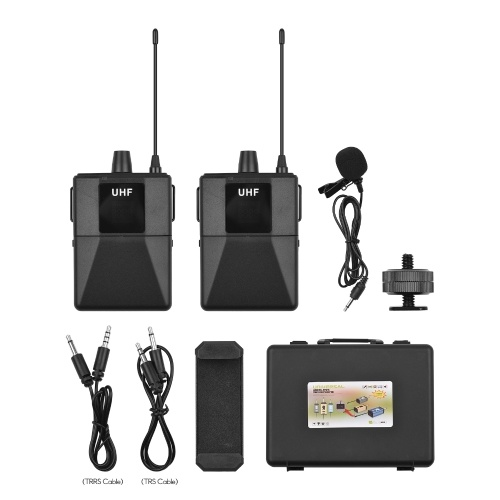 ammoon UHF Wirless Microphone System with Body-pack Lavalier Microphone Receiver