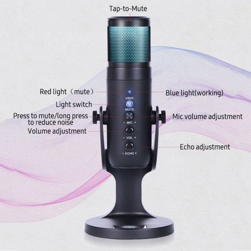 USB Condenser Microphone Tabletop Desktop RGB Microphone with Stand Computer PC Plug & Play Microphone with Colorful Lights Volume Control Headphone Connection for Audio Monitoring for Podcast Recording Live Streaming
