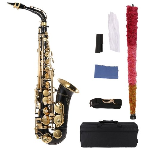 bE Alto Saxphone Brass Lacquered Gold E Flat Sax 82Z Key Type Woodwind Instrument with Cleaning Brush Cloth Gloves Cork Grease Strap Padded Case
