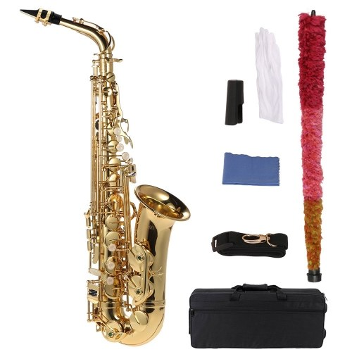 bE Alto Saxphone Brass Lacquered Gold E Flat Sax 802 Key Type Woodwind Instrument with Cleaning Brush Cloth Gloves Cork Grease Strap Padded Case