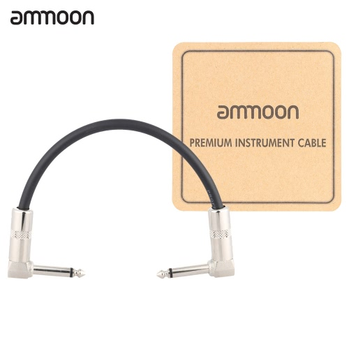 ammoon AC-10 15cm / 0.5 Feet Guitar Patch Effect Pedal Instrument Cable Cord 1/4 Inch 6.35mm Silver Right Angle Plug PVC