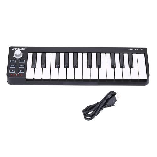 Klawiatura przenośna Worlde Easykey.25 Mini 25-klucz USB MIDI Controller