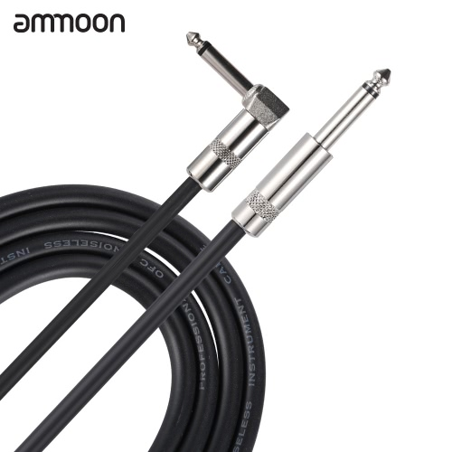 ammoon 5M / 16.4 Feet Instrument Guitar Cable 1/4-Inch 6.35mm Straight to Right Angle Plug with Black PVC Jacket