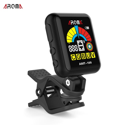AROMA AMT-100 2 in 1 Rechargeable Rotatable Clip-on Electronic Tuner Metronome Color Screen with Built-in Battery USB Cable for Chromatic Guitar Bass Ukulele Violin