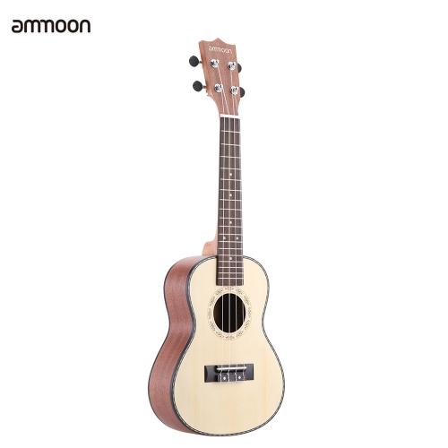 """Ammoon 24 """"Świerk Sapele Ukulele Rosewood Fretboard 4 Struny Instrumenty Muzyczne Nowy Rok Prezent Prezentowy"""