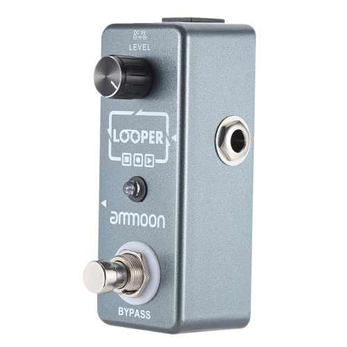 ammoon AP-08 Mini Loop Electric Guitar Single Effect Pedal Looper Unlimited Overdubs 10 Minutes Recording True Bypass with USB Cable