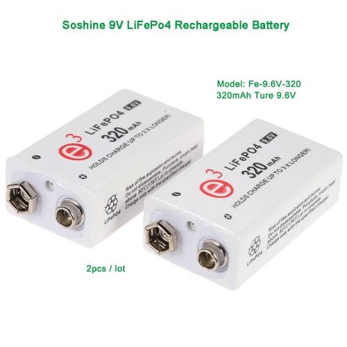 2pcs/lot Soshine 9V LiFePo4 Rechargeable Battery: 320mAh Ture 9.6V