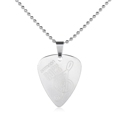 ammoon Guitar Pick Necklace Stainless Steel with 50cm/20in Ball Chain Silver Color