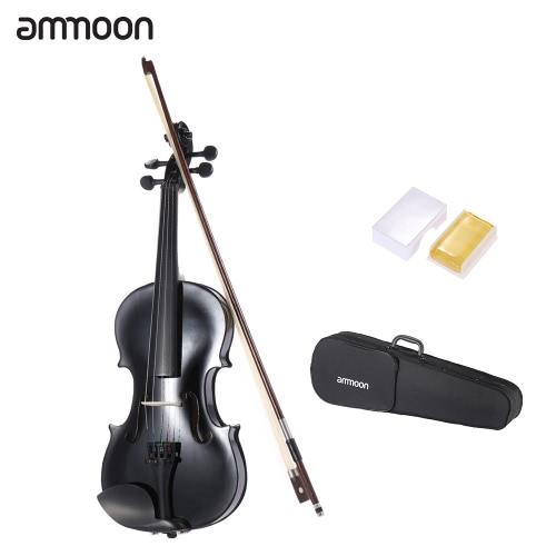 ammooon 1/2 学生ヴァイオリン メタリック ブラックに、初心者のための音楽愛好家のため植樹弓 + ケース w/鋼文字列装備