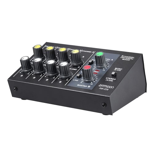 AM-228 Ultra-compact Low Noise 8 Channels Metal Mono Stereo Audio Sound Mixer with Power Adapter Cable