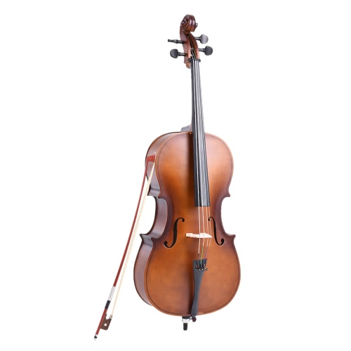 1/4 Wooden Cello Matte Finish Basswood Face Board with Bow Rosin Carrying Bag for Students Music Lovers