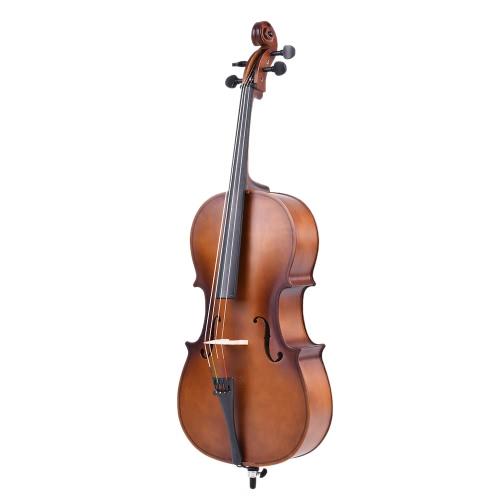 Finitura opaca violoncello legno solido di 1/2 bordo del fronte Basswood con arco colofonia borsa di trasporto per gli studenti appassionati di musica