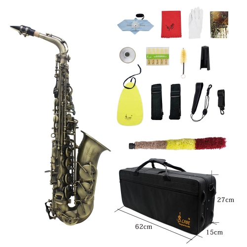 High Grade Antique Finish Bend Eb E-flat Alto Saxophone Sax Abalone Shell Key Carve Pattern with Case Gloves Cleaning Cloth Straps  Brush