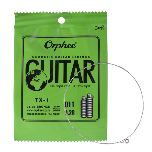 Orphee TX-1 Single String Replacement for Acoustic Folk Guitar 1st E-String (.011) 10-Pack High-carbon Steel Core 75/25 Phosphor Bronze Extra Light Tension