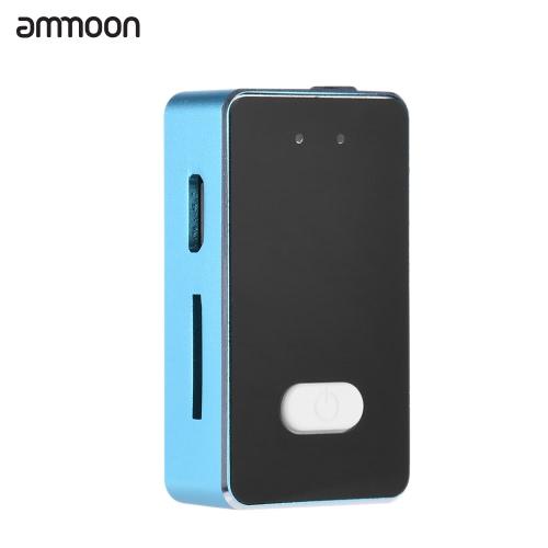 ammoon Mini Clip-on Audio Digital Grabadora de Sonidos de Voz Reproductor de Mp3 Construido en la Batería Recargable Micrófono Condensador con el Auricular Cable USB