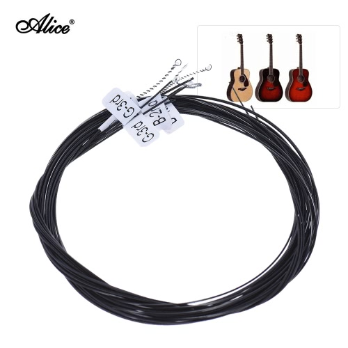 Alice AC136BK-H Black Nylon Classical Guitar Strings 6pcs/set (.0285-.044) Hard Tension with One Complimentary G-3rd String