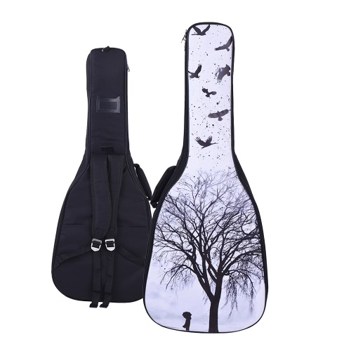 41&42 Inch Acoustic Folk Classical Guitar Gig Bag Case Backpack PU Surface Water-resistant Thicken Padded Dual Adjustable Shoulder Strap Banyan Pattern