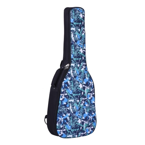 41&42 Inch Acoustic Folk Classical Guitar Gig Bag Case Backpack Water-resistant Thicken Padded Dual Adjustable Shoulder Strap Blue Pattern