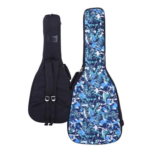 41 e 42 pollici acustico zaino Folk Chitarra classica Gig Bag Custodia Impermeabile addensare imbottito Dual Adjustable Tracolla Blue Pattern