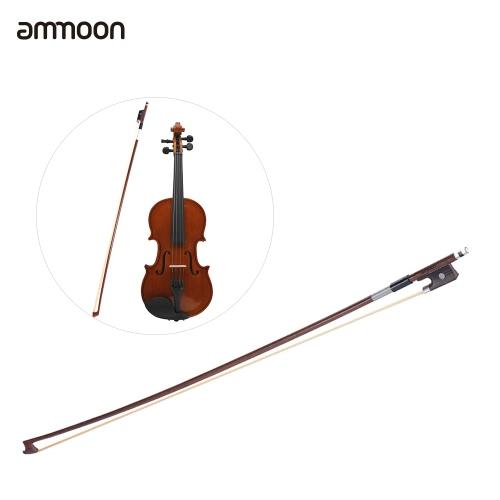 フルサイズの1/4バイオリンフィドルボウバランスのとれたラウンドブラジルウッドスティック馬毛絶妙ammoon