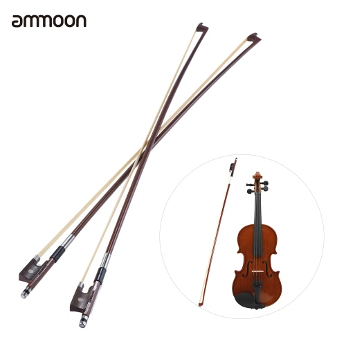 ammoon Full Size 4/4 Violin Fiddle Bow Well Balanced Round Brazil Wood Stick Horsehair Exquisite, Pack of 2pcs