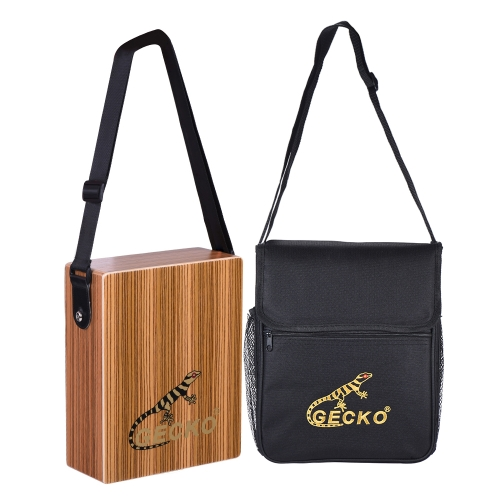 GECKO C-68Z Portable Traveling Cajon Box Drum Hand Drum Zebra Wood Persussion Instrument with Strap Carrying Bag