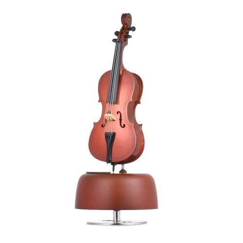 回転楽器ベース音源ミニチュアレプリカ工芸品ギフトとクラシック風アップチェロオルゴール