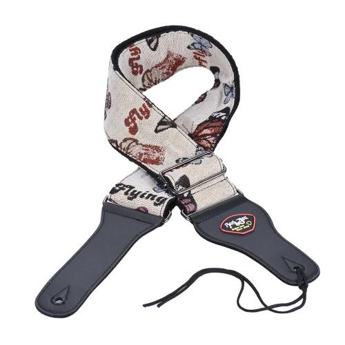 Einstellbare Gitarre Schultergurt Cotton PU-Leder kurz mit Pick-Taschen-Krawatte für Acoustic Folk Klassik E-Gitarren-Bass-Schmetterlings-Muster